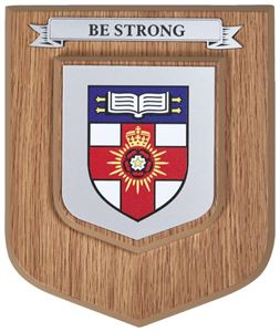Light Oak Heraldic Shield with a Single Scroll - LW1