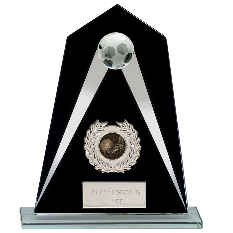 White//Silver Printed Glass Plaque With Football Insert Trophy 3 sizes free engra