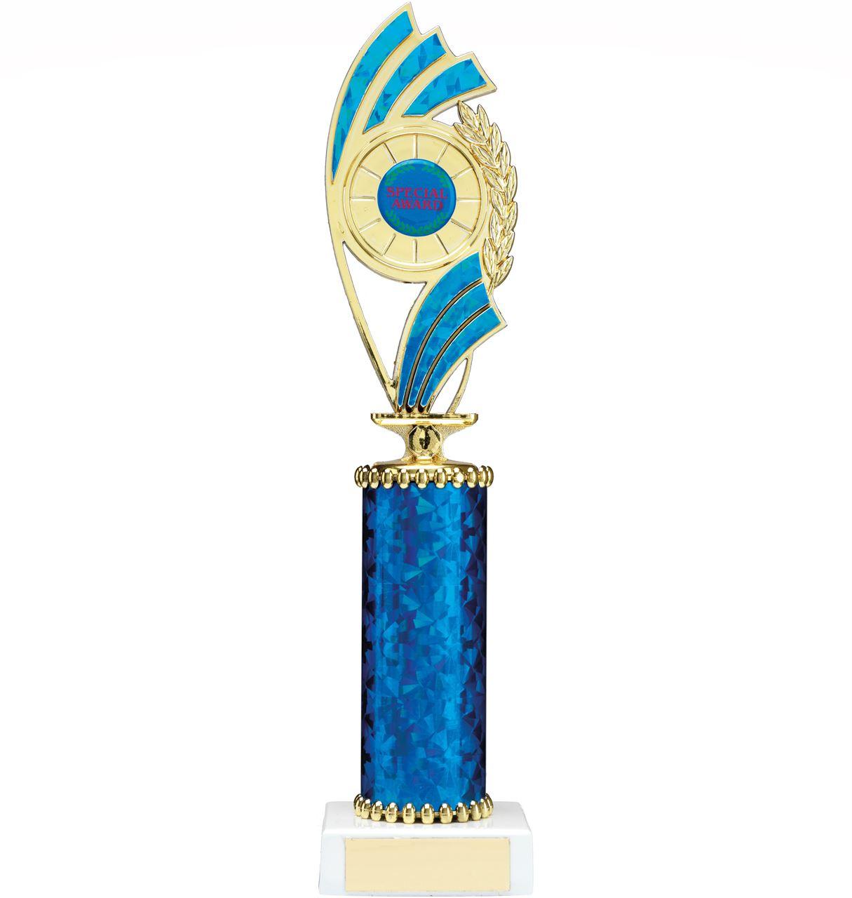 Blue Curve Column Trophy - 1226D