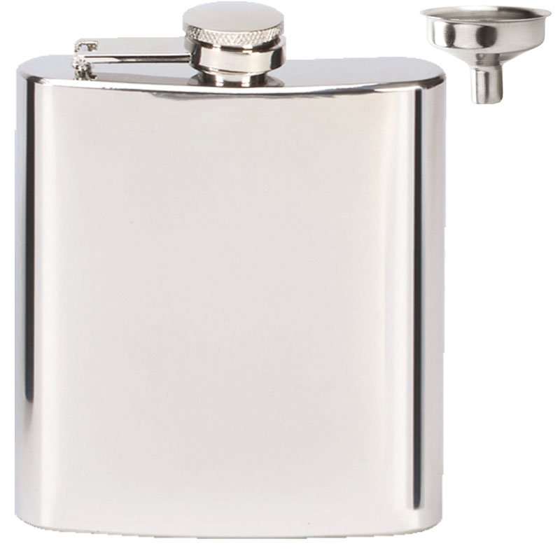 Vision Mirror Polished Hip Flask with Funnel - HF002