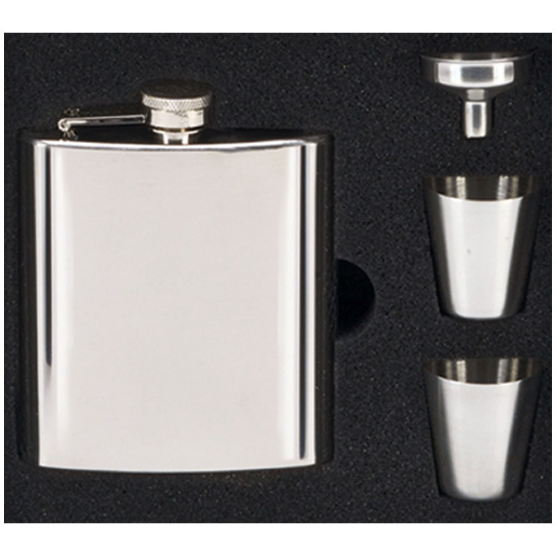 Vision Mirror Polished Hip Flask with Cups Boxed