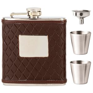 Vision Brown Leather Wrapped Hip Flask- HF011