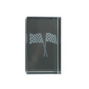 Bulk Purchase - 3D Glass Checked Flags Award Small - GC11