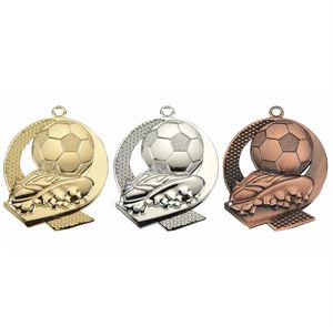 Pack of 100 Football Boot and Ball Medals with Ribbons & Text Labels (50mm) - ME.053/SET100