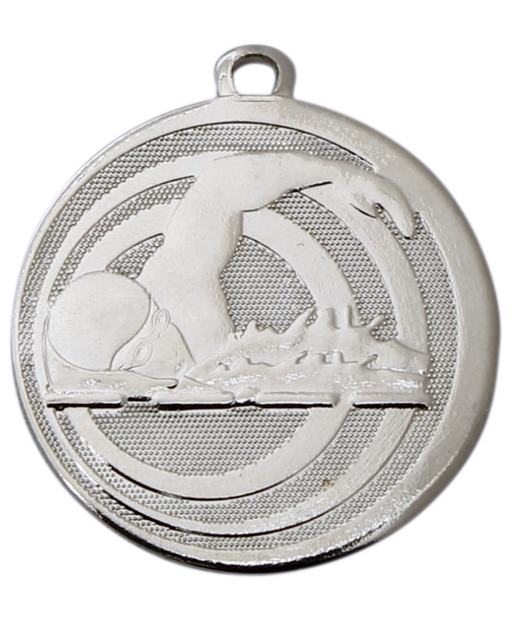 Pack of 100 Focus Swimming Medals with Ribbons & Text Labels (32mm) - Silver ME.094.01.AA/SET100