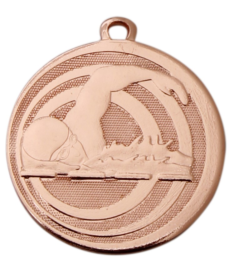 Pack of 100 Focus Swimming Medals with Ribbons & Text Labels (32mm) - Bronze ME.094.03.AA/SET100