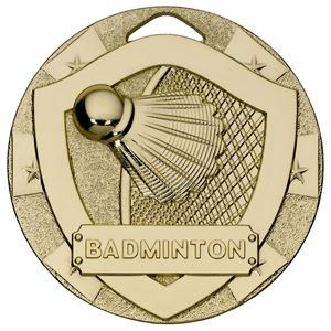 Gold Mini Shield Badminton Medal - G820