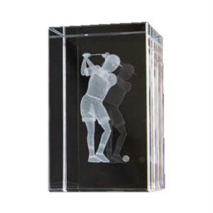 Bulk Purchase - 3D Glass Female Golfer Award Small - GC17