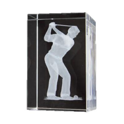Bulk Purchase - 3D Glass Male Golfer Award - GC16