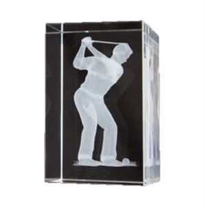 Bulk Purchase - 3D Glass Male Golfer Award - GC16