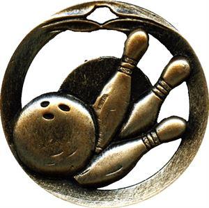 Circular Frame Ten Pin Bowling Medal - MTL907