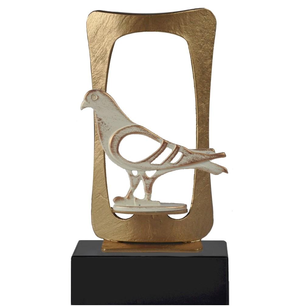 Gold Frame Pigeon Pewter Trophy - BEL700-727