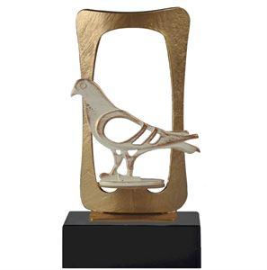 Gold Frame Pigeon Pewter Trophy