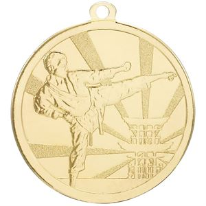 Gold Martial Arts Kick Medal - G900