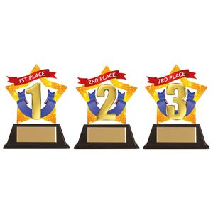 Mini-Star 1st, 2nd and 3rd Place Acrylic Plaque - AC19626/7/8