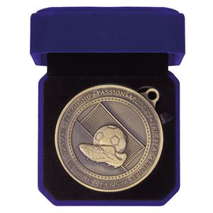 Gold Olympia Football Boot Medal & Case - MB19622G