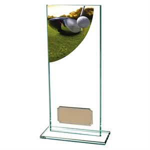 Colour Curve Golf Driver Glass Trophy - CR4861