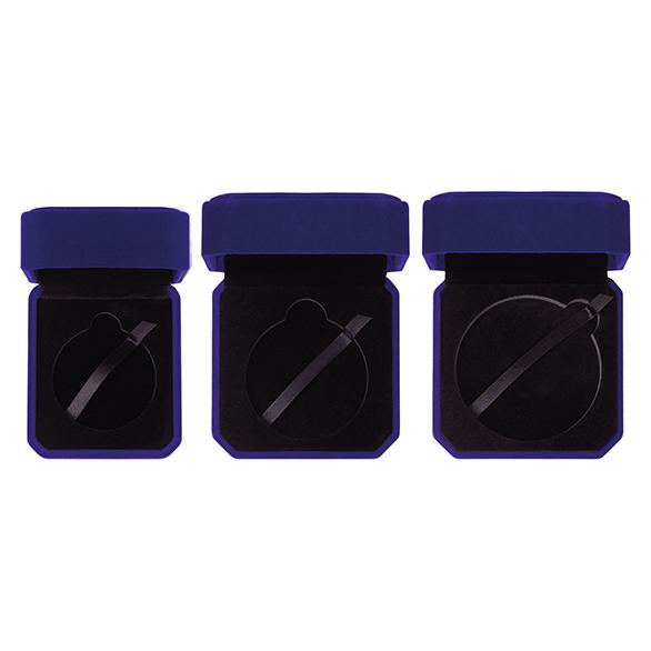 Aspire Blue Velour Medal Box 3 sizes - MB19159