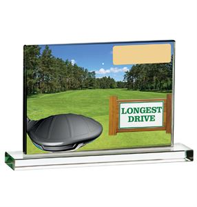 Longest Drive Coloured Glass Plaque Award - GLG95A