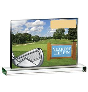 Nearest the Pin Coloured Glass Plaque Award - GLG95B