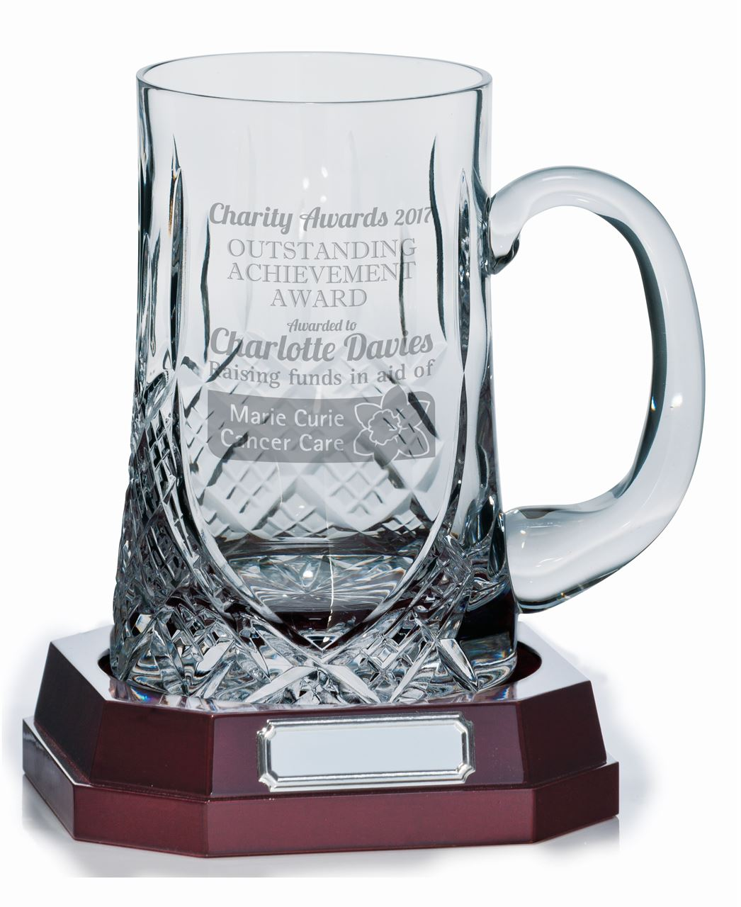 Lindisfarne St Bernica Crystal Tankard with base and engraving example - CR3603A