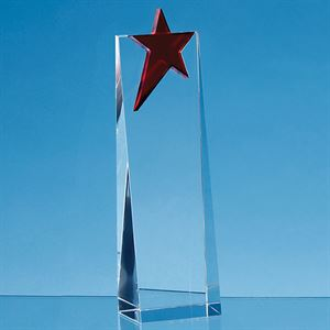 Optical Crystal Rectangle with Brilliant Red Star Award - FC178/79/80
