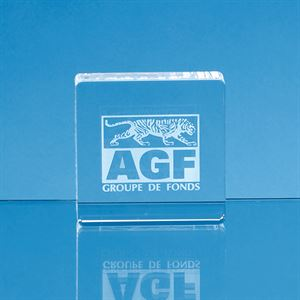 Optical Crystal Stand Up Square Paperweight - FC138