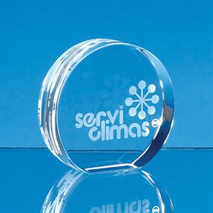 Optical Crystal Stand Up Circle Paperweight - FC135