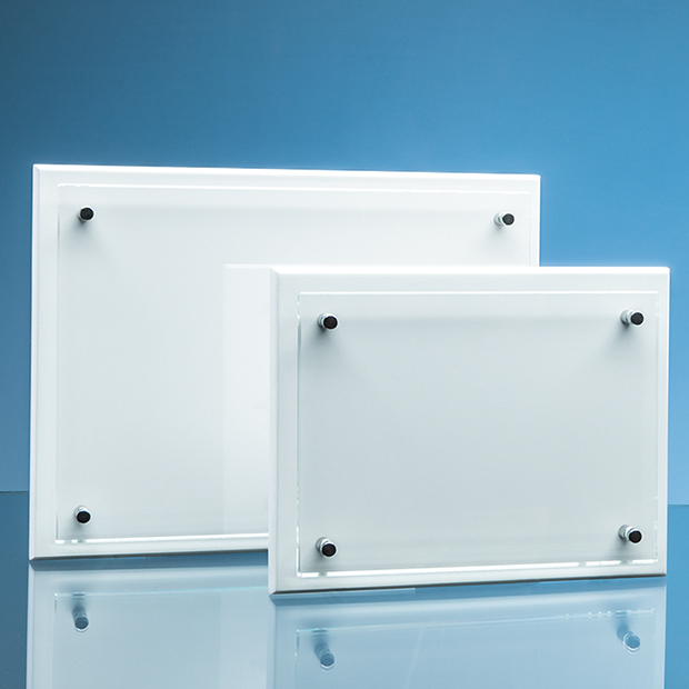 Clear Glass Rectangle Mounted on a White Wood Plaque inc Fixing Kit - PG301/2/3