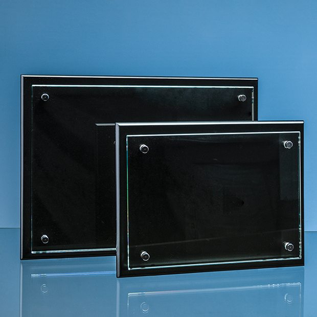 Clear Glass Rectangle Mounted on a Black Wood Plaque inc Fixing Kit - PG307/8/9