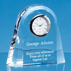Lead Crystal Dome Clock - JR41