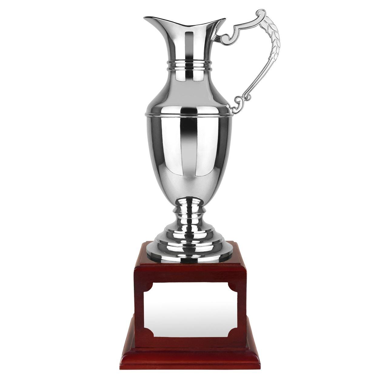 Nickel Plated Endurance Claret Jug Rosewood Plinth - WBC29