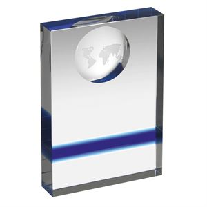 Globe Clear & Blue Crystal Award - HC024