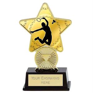 Gold Badminton Superstar Mini Trophy - PK287B