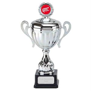 SILVER BLUE TROPHY CUP LARGE 300mm *FREE ENGRAVING* 3 BIG SIZES AWARD
