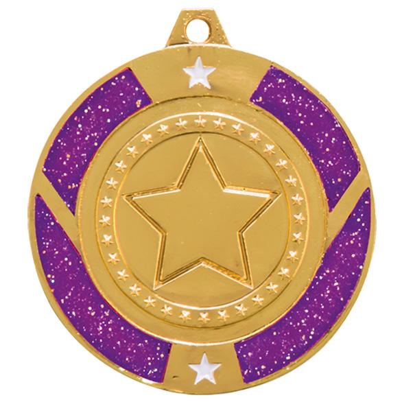 Gold Engraved Glitter Star Purple Medal - MM17146G