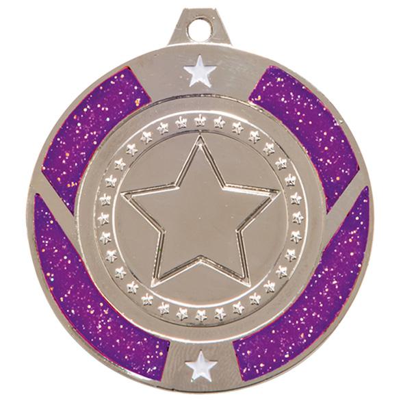 Silver Engraved Glitter Star Purple Medal - MM17146S