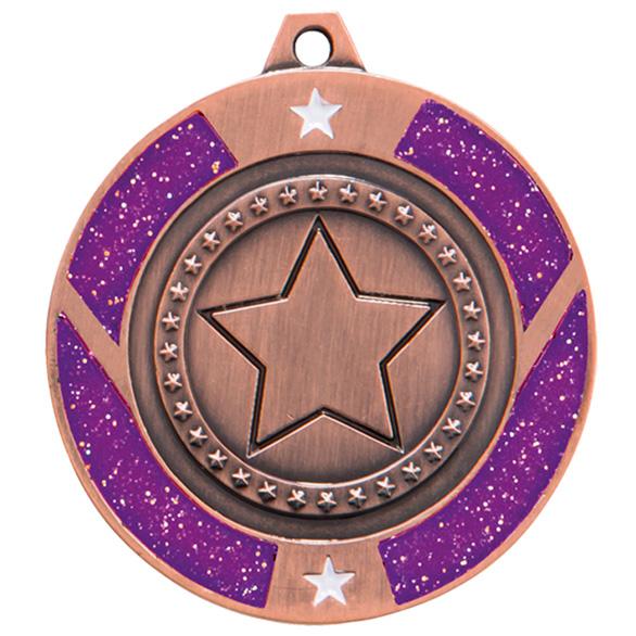 Bronze Engraved Glitter Star Purple Medal - MM17146B