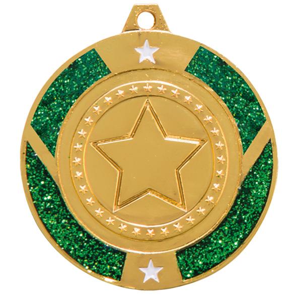 Gold Engraved Glitter Star Green Medal - MM17147G