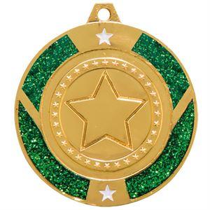 Engraved Glitter Star Green Medal