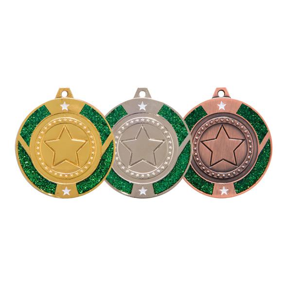 Engraved Glitter Star Green Medal - MM17147E