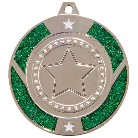 Silver Engraved Glitter Star Green Medal - MM17147S