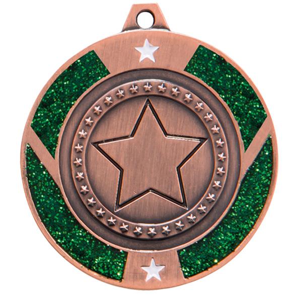 Bronze Engraved Glitter Star Green Medal - MM17147B