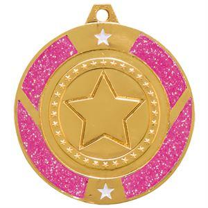 Gold Engraved Glitter Star Pink Medal - MM17148G