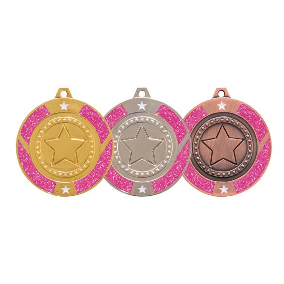 Engraved Glitter Star Pink Medal - MM17148E