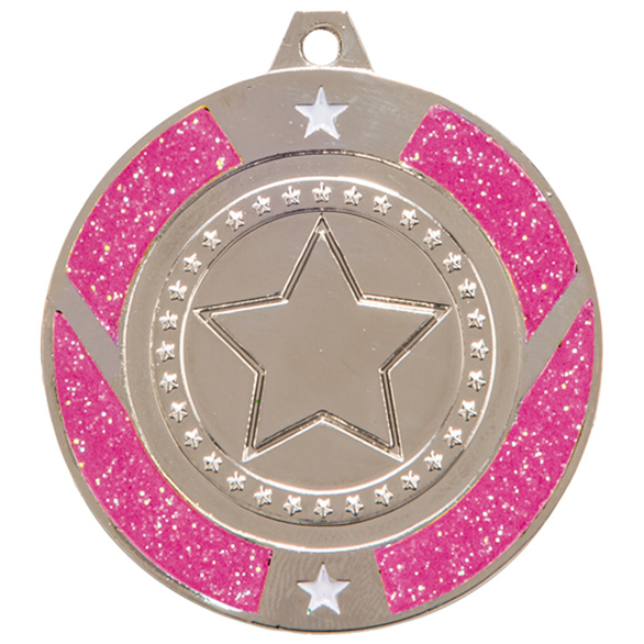Silver Engraved Glitter Star Pink Medal - MM17148S