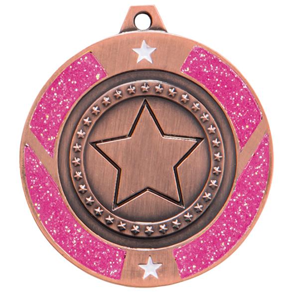 Bronze Engraved Glitter Star Pink Medal - MM17148B