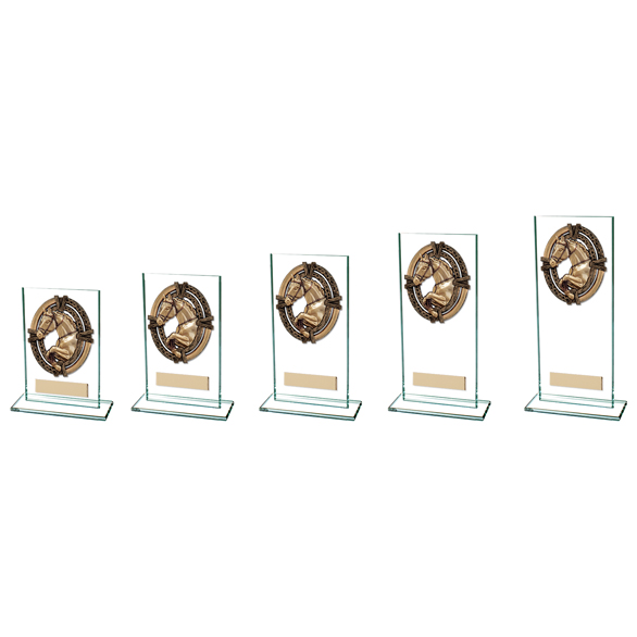 Maverick Legacy Glass Equestrian Trophy Bronze CR16013 - 5 Sizes