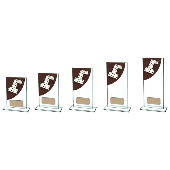 Colour Curve Dominoes Glass Trophy CR4623 - 5 Sizes