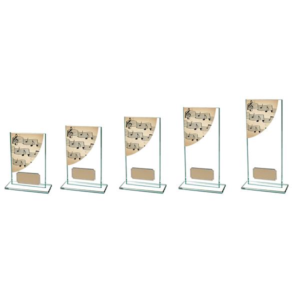 Colour Curve Music Glass Trophy 5 sizes - CR4763